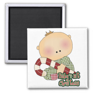 baby 1st christmas baby boy 2 inch square magnet