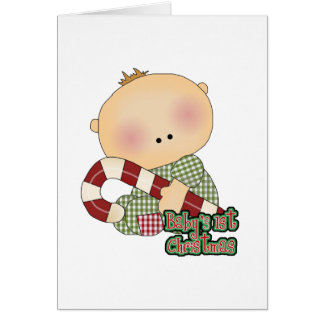 baby 1st christmas baby boy greeting cards