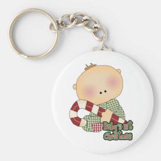 baby 1st christmas baby boy basic round button keychain