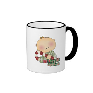 baby 1st christmas baby boy ringer coffee mug