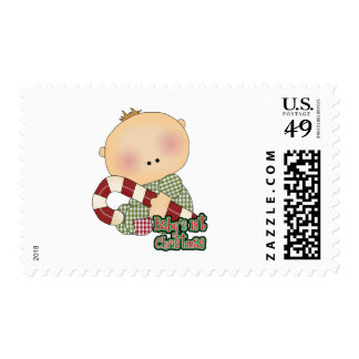 baby 1st christmas baby boy postage stamp