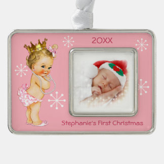 Baby 1st Christmas Photo Pink Princess Pearls Christmas Ornament