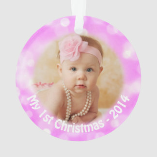 Baby 1st Christmas Pink Holiday Photo Ornament