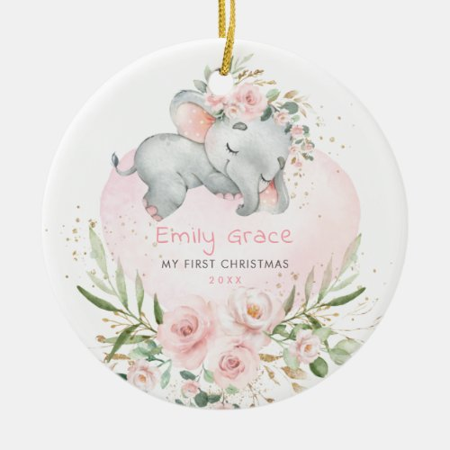 Baby 1st First Christmas Blush Floral Elephant Ceramic Ornament