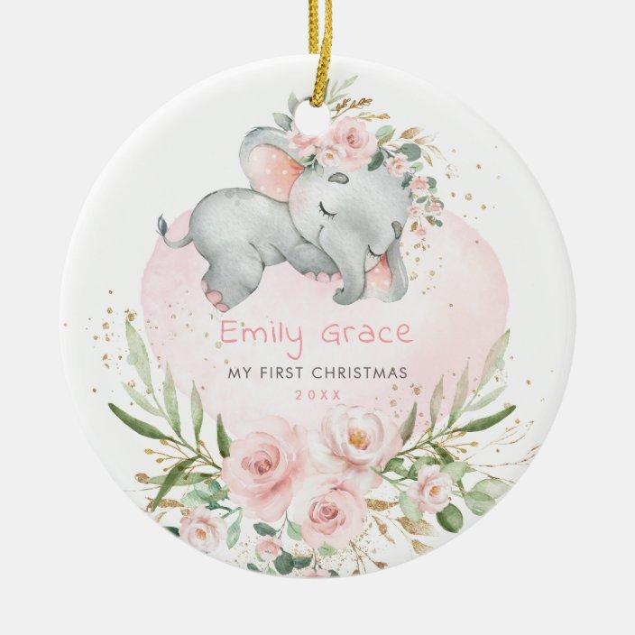 Baby 1st First Christmas Blush Floral Elephant Ceramic Ornament Zazzle Com