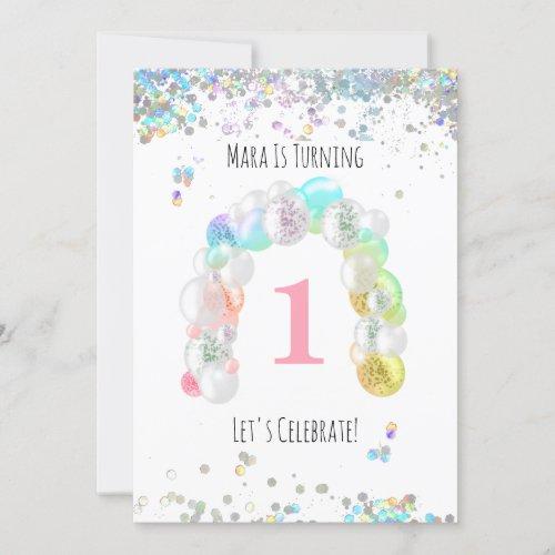 BABY 1st One First Balloon Girl Birthday Invitation
