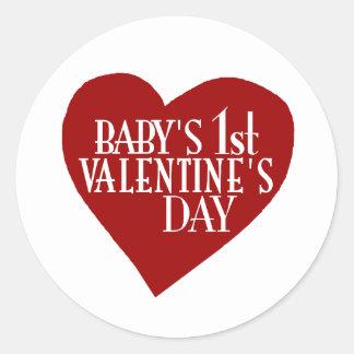 Baby 1st Valentine's Day Classic Round Sticker