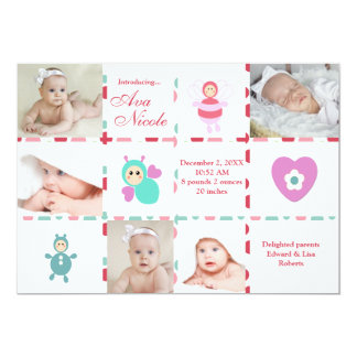Baby 9-Photo Graph Birth Announcement