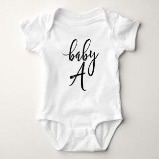 Baby A Black Handwritten Script Baby Bodysuit