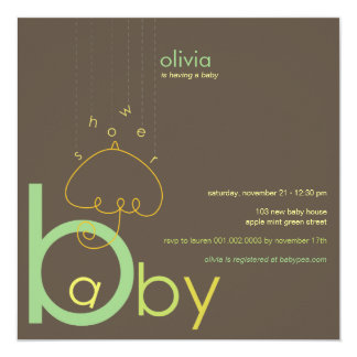 "Baby ""a"" in B Boy Girl Green Cute Baby Shower Card"