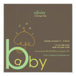 "Baby ""a"" in B Boy Girl Green Cute Baby Shower Custom Announcements"