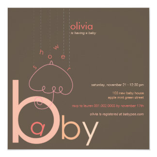 """Baby """"a"""" in B Girl Pink Cute Baby Shower Invite"""
