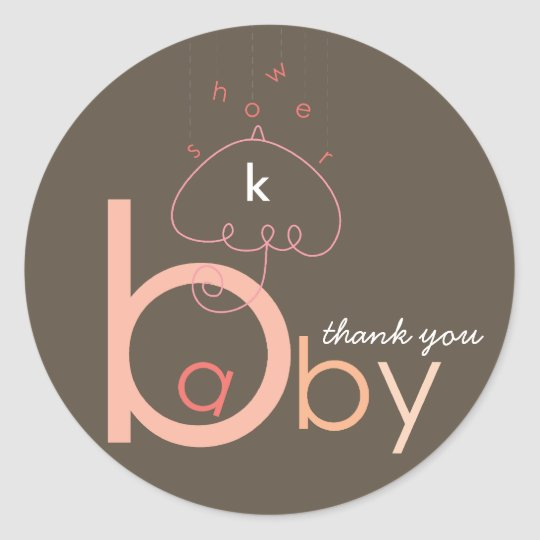 "Baby ""a"" in B   Pink Baby Girl Shower Sticker"
