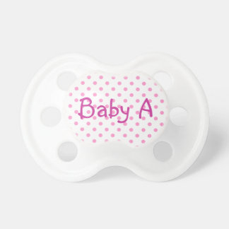 Baby A White and Pink Polka Dot Pacifier