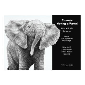 Baby African Elephant Party Invitation