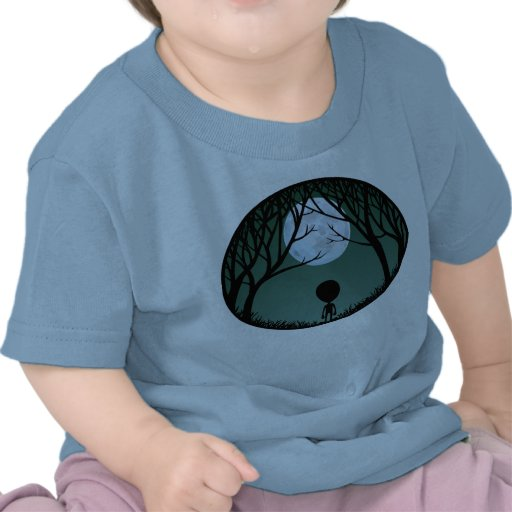 Baby Alien T-Shirts Alien w. Moon  Baby Shirts