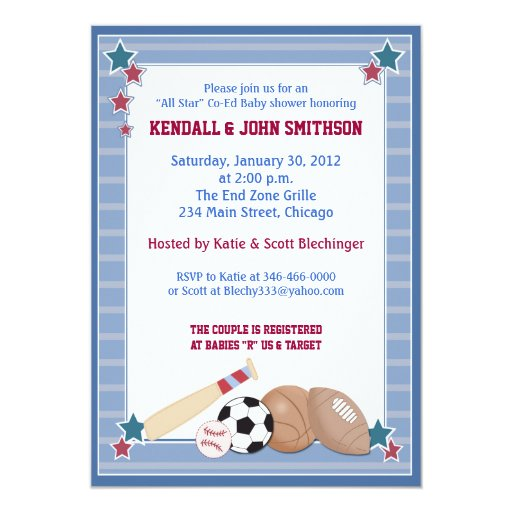 BABY ALL STARS Sports Baby Shower Invitation