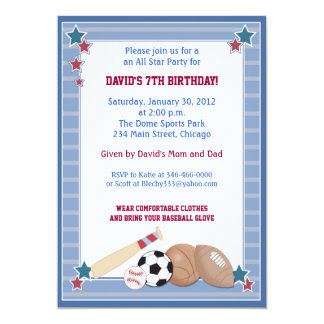 BABY ALL STARS Sports BIRTHDAY Invitation