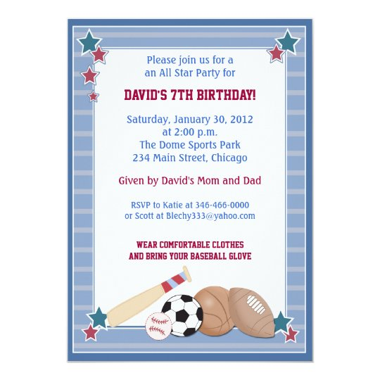 BABY ALL STARS Sports BIRTHDAY Invitation