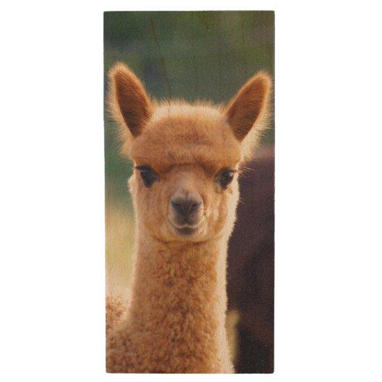 Baby Alpaca Wood USB 2.0 Flash Drive