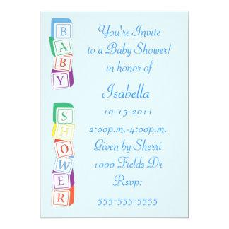 "Baby Alphabet Block Boy Baby Shower Invitation 5"" X 7"" Invitation Card"