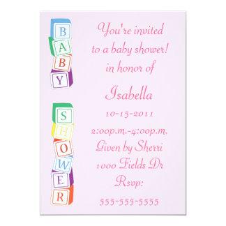 Baby Alphabet Block Girl Baby Shower Invitation