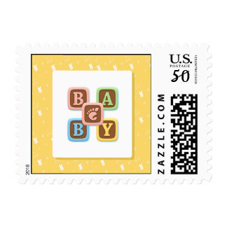 Baby Alphabet Blocks on Yellow Postage