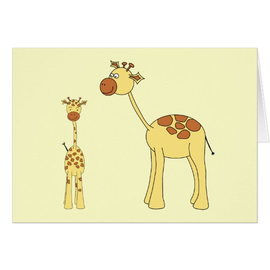 Baby and Adult Giraffe. Card