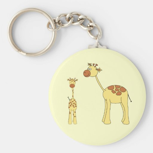 Baby and Adult Giraffe. Key Chains