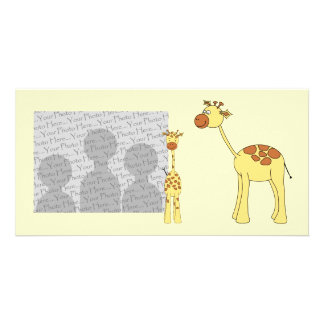 Baby and Adult Giraffe. Photo Card Template