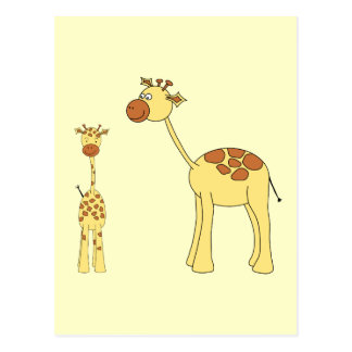 Baby and Adult Giraffe. Post Cards