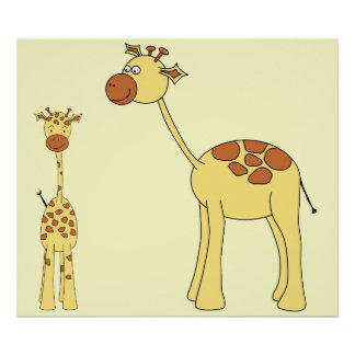 Baby and Adult Giraffe. Poster