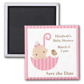 Baby and Bird in Umbrella 2 Inch Square Magnet