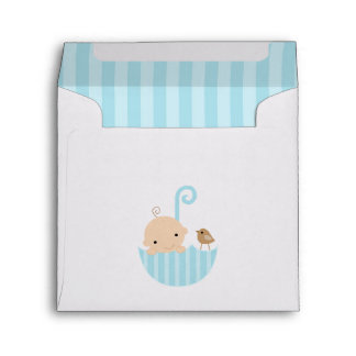 Baby and Bird in Umbrella Baby Shower Envelopes