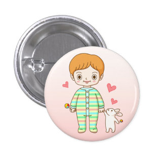 Baby And Bunny 1 Inch Round Button
