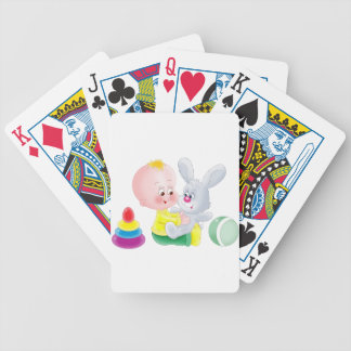 Baby and bunny bicycle playing cards