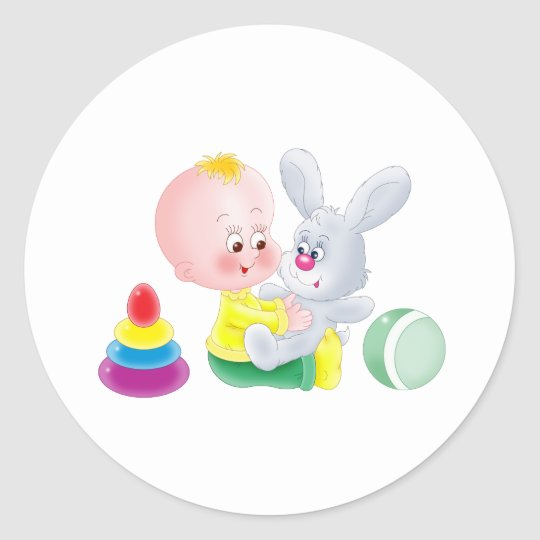 Baby and bunny classic round sticker