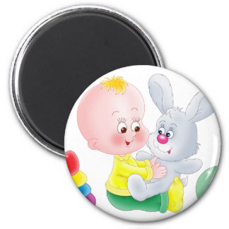 Baby and bunny fridge magnets
