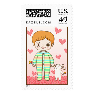 Baby And Bunny Postage Stamps