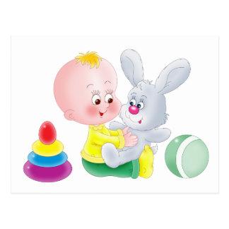 Baby and bunny postcard