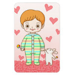 Baby And Bunny Rectangle Magnet