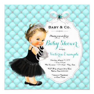 Baby and Company Black Teal Blue Baby Shower Card
