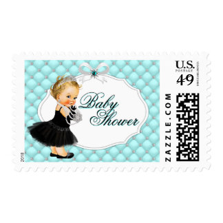 Baby and Company Teal Black Baby Shower Postage