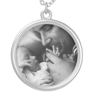 Baby and  Daddy Round Pendant Necklace