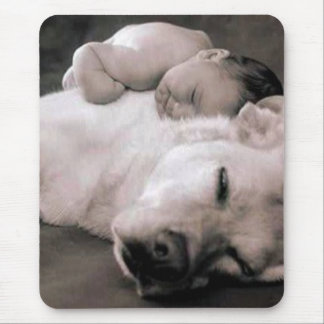 baby and dog mouse pad