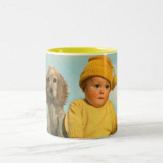 Baby and dog Two-Tone coffee mug