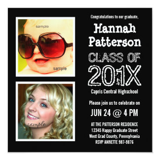 Baby and Grad Photo Graduation Party 5.25x5.25 Square Paper Invitation Card
