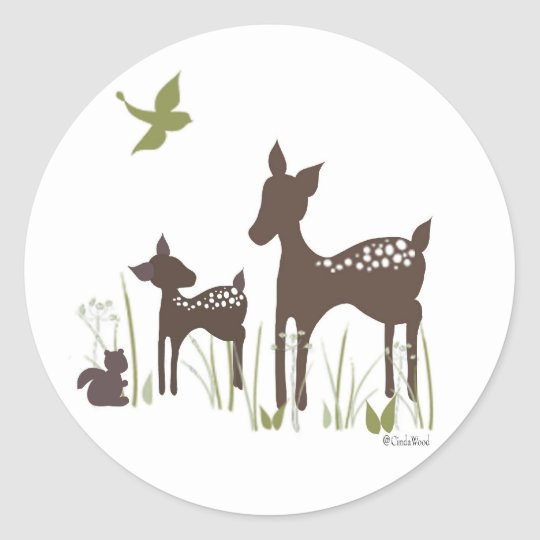Baby and Momma Deer Classic Round Sticker
