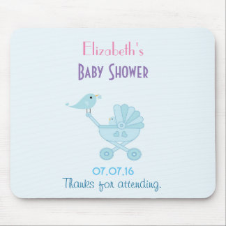 Baby and Mommy Bluebirds Baby Shower Mouse Pad