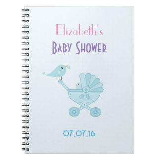 Baby and Mommy Bluebirds Baby Shower Spiral Notebook